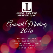 Annual Meeting, Tuesday May 3rd at Hickory Hills Country Club.  Social - 6:30pm, Meeting - 7:00pm